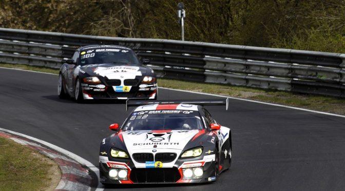 Drei BMW M6 GT3 bei der Generalprobe für die 24 Stunden auf dem Nürburgring in den Top-10